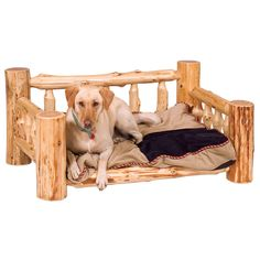 Cedar Log Dog Bed