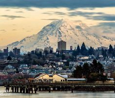 I love seeing Mt. Rainier on the daily. Its so refresing and beautiful. Rainier standing watch over Tacoma, Washington.photographer Jeremiah Pierucci (please be sure to give credit) Tacoma Washington, Washington State, Olympia Washington, Places To Travel, Places To See, Seattle Restaurants, Evergreen State, Pacific Northwest, Pacific Coast