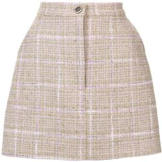 Natasha Zinko Tweed Mini Button Front Skirt (€575) ❤ liked on Polyvore featuring skirts, mini skirts, bottoms, clothing /, kirna zabete, pink tweed skirt, natasha zinko, multi color skirt, button front mini skirt and colorful skirts