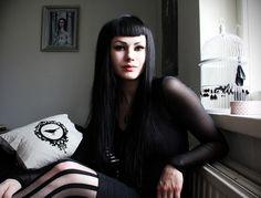 Black hair short bangs with long hair