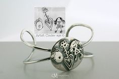 Sterling Silver Child Artwork Drawing by courtneymariejewelry