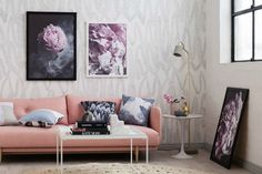 art club concept elysian collection pink living room with pink flower art and pink sofa