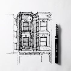 424 best arquitectura y sketch images - bay window sketch Building Drawing, Building Sketch, Illustration Sketches, Drawing Sketches, Art Drawings, Rendering Drawing, House Illustration, Pencil Drawings, Window Sketch