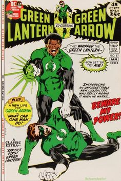 """Green Lantern """"In Beware My Power, The first appearance of John Stewart. An injury to Guy Gardner prompted the Guardians of the Universe to recruit African-American architect John Stewart"""" John Stewart Green Lantern, Green Lantern Green Arrow, Green Lantern Comics, Green Lanterns, Black Lantern, Dc Comic Books, Comic Book Covers, Comic Book Characters, Comic Character"""