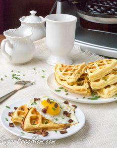 These savory cloud bread cheddar waffles are keto, low carb, grain free and Best Low Carb Recipes, Whole Food Recipes, Keto Recipes, Favorite Recipes, Healthy Recipes, Low Carb Bread, Low Carb Keto, Keto Bread, Low Carb Breakfast