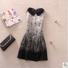 2014 Elegant peter pan collar embroidery print slim gradient color wool vest basic one-piece dress women winter AS1129 $59.58