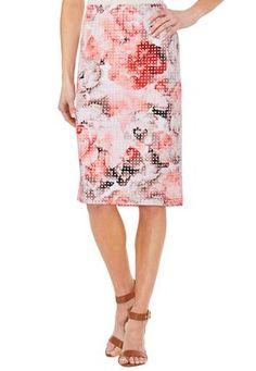 Cato Fashions | Floral Laser Cut Midi Skirt