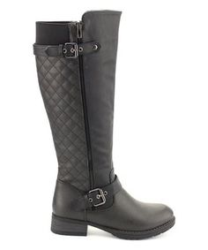 An evocative quilted texture lends cozy comfort to this soft boot detailed with slender buckle straps. Tall Boots, Black Boots, New Today, Black Quilt, Riding Boots, Cozy, Pairs, Shoes, Breeze