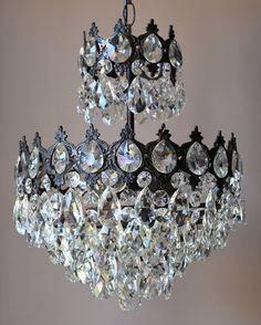 FREE EXPRESS DELIVERY SuperbLustre Antique French Vintage Hand Made Crystal Chandelier Lamp Old Art Nouveau Lighting Classic Fittings