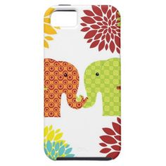 Pretty Elephants in Love Holding Trunks Flowers iPhone 5 Cases SOLD on Zazzle
