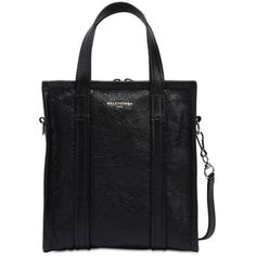 Balenciaga Women Xs Bazar Crackled Leather Tote Bag (€1.070) ❤ liked on Polyvore featuring bags, handbags, tote bags, black, genuine leather tote bags, handbags totes, leather tote bags, leather totes and zip top tote bags