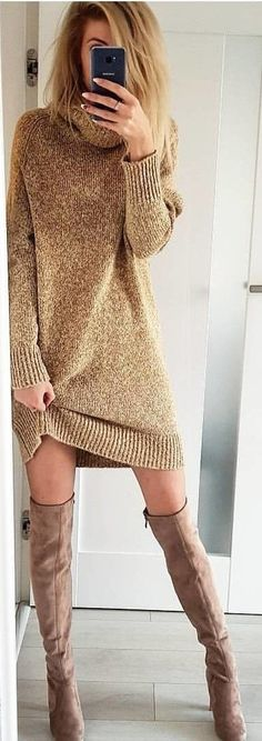 #winter #outfits  brown turtleneck long-sleeved sweater dress and brown thigh-high boots
