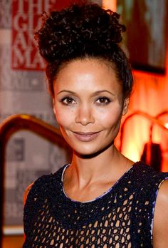 Curly hairstyles, Natural Hairstyles, natural hair, Thandie Newton, celebrity hairstyles, top knot, bun