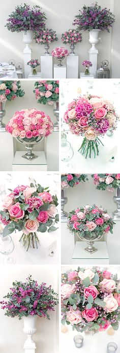 Pink and lilac - wedding flowers - bouquets, urns, centrepieces