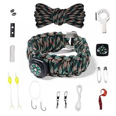 Paracord Survival Bracelet Kit w/ fire starter and multifunctional tools for Hiking, Hunting, Fishing or Camping *** You can get more details here : Camping supplies