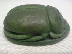 55793 ANTIQUE 1890s GRUEBY POTTERY MATTE GREEN SCARAB PAPERWEIGHT