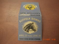 Vintage Matchbook Cover Suffolk Downs New England's Finest Horse Racing | Collectibles, Paper, Matchbooks | eBay!