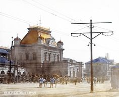 Osaka, 1900's. This glass slide shows the second Osaka Station in all of its glory. Opened in July 1901 (Meiji 34), the Gothic style building was two stories high and built of granite, giving it a massive and imposing look. Osaka Station was one of the city's three must-see tourist attractions.