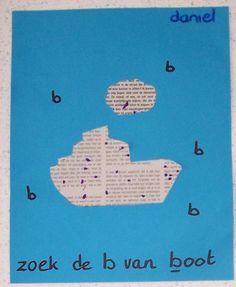 - Juf Joyce uit tijdschrift (tekst) een boot knippen. Kinderen zoeken de b van boot