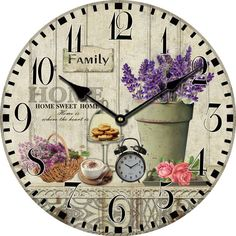 Lavender Large Decorative Wall Clocks Modern Design Living Room Antique Wooden Vintage Wall Clock Home Decor Fashion Rustic $18.66
