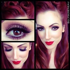 Pin-up hair and makeup love this style and hair color :)