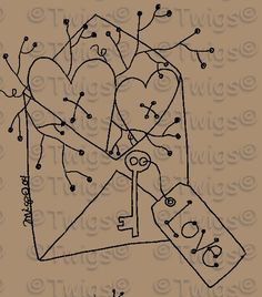 Primitive Hearts in envelope with PipBerry Stitchery E Pattern
