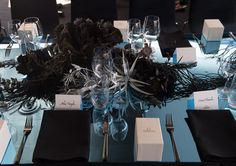 Sydney's iconic harbour inspired an oceanic wonderland for the launch of Omega's Deep Black timepiece. Omega Planet Ocean, Table Scapes, Florists, Wonderland, Floral Design, Table Settings, Product Launch, Table Decorations