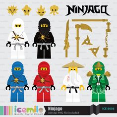 This digital clipart set including 6 Ninjago Character & weapons. Each clipart saved separately a Diy Lego Birthday Party Ideas, Ninja Birthday Cake, Lego Party Games, Ninja Birthday Parties, Boy Birthday, Lego Ninjago, Ninjago Party, Ninjago Coloring Pages, Disney Coloring Pages