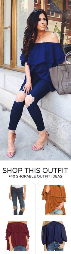 #summer #outfits Navy Off The Shoulder Top + Navy Destroyed Skinny Jeans + Nude Sandals