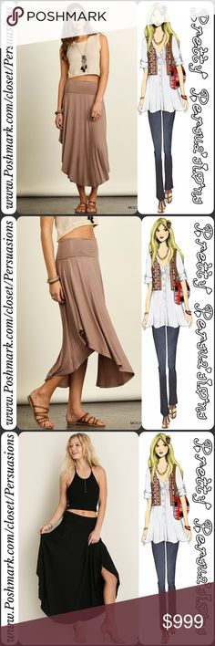 """SALE 🎉NWT Mocha Lattè Swing Skirt NWT Mocha Swing Skirt  Available in sizes S, M, L Measurements taken from a size small  Length: 39.5"""" (at longest) Waist: 26"""" (unstretched) Hips: 40""""  Features  • wide waistline  • shorter at sides & longer at front center & back • extremely soft, breathable material w/a lot of stretch • relaxed, easy fit • swing cut   Cotton blend   Also available in black in separate listing   Bundle discounts available  No pp or trades  Item # 1/17/150430MS tapered…"""