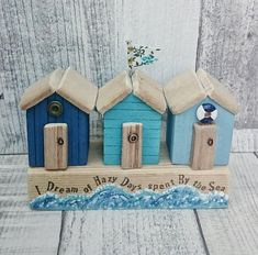 This article is not available - I dream dull days spent By the Sea original artwork by DriftwoodSails 🌊 Small row of beach huts - Seaside Art, Beach Art, Beach Hut Decor, Driftwood Crafts, Wooden Crafts, Small Wooden House, Driftwood Sculpture, Wood Ornaments, Beach Crafts