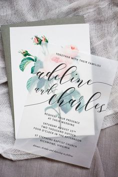 Wedding Designs Make these sweet floral wedding invitations using nothing more than a store bought template, vellum and cardstock Carton Invitation, Invitation Paper, Diy Invitations, Invitation Ideas, Invitation Layout, Invitation Suite, Invitation Envelopes, Floral Invitation, Birthday Invitations