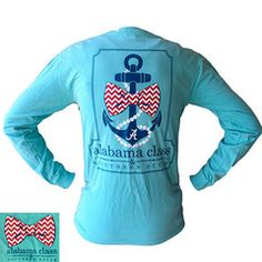 Alabama Crimson Tide Southern Class Bow Anchor Comfort Colors Chalky M   SimplyCuteTees
