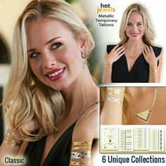 HOT JEWELS Metallic Temporary Tattoos FREE W/ PURC Classic collection includes 4 sheets. Lasts up to 6 days. FREE WITH PURCHASE! Hot Jewels Accessories