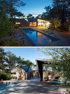 This modern holiday house has a large swimming pool with a deck and sandy area is surrounded by trees and creates a private space to relax and entertain.