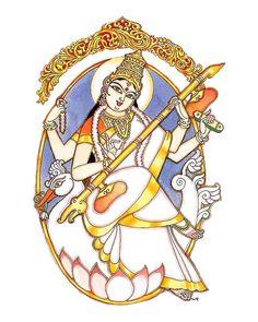 Saraswati Painting, Madhubani Painting, Indian Traditional Paintings, Indian Art Paintings, Art Sketches, Art Drawings, Lord Ganesha Paintings, Indian Folk Art, India Art