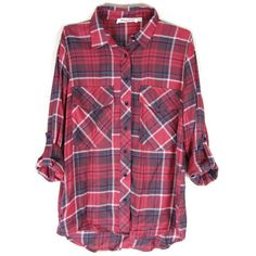 Classic Plaid Flannel in Red ($29) ❤ liked on Polyvore featuring tops, shirts, flannel, flannel tops, red long sleeve top, purple top, red plaid top and long sleeve tops