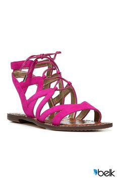 If a pop of pretty pink color is exactly what your summer looks need, you've found it. The Sam Edelman Gemma Sandal has luxuriously soft suede crisscross straps and a lace-up closure for an on-trend, sophisticated look. Dress it up with a complimentary floral print skirt or go casual in cropped white denim – or any jeans, for that matter. It will be the perfect day-to-night summer sandal! Make them yours now at Belk.com.