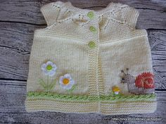 Knitted baby cardiganbaby vestyellow vest with от AnaSwet на Etsy