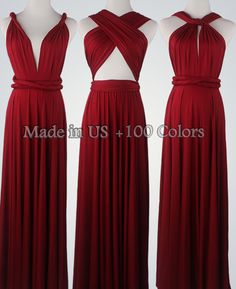 Wine Red Bridesmaid Dress Infinity Dress Convertible Dress Wrap Dress Multiway Dress Prom Dress Wedding Dress Cocktail Dress Maxi Dress   What can be better than a dress that can be suitable for many occasions! Create infinite styles with a convertible dress. It is very fashionable, It will let you shine from day to night, from a formal wedding to a casual beach party! It all depends on how you want it be!  We have over 95 different colors. All dresses is made to order, please indicate…