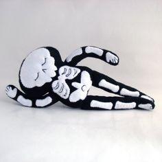 Sleepy Stuffy Skeleton with little rabbit friend by blacklilypie, $52.00
