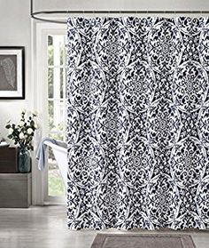 Amazon.com: Navy Blue White IKAT Cotton Fabric Shower Curtain: Geometric  Floral Design