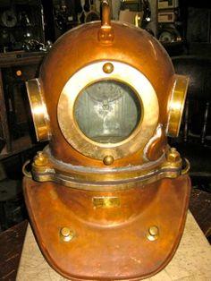 #0341 1990 Russian Three-Bolt Copper and Brass Diving Helmet