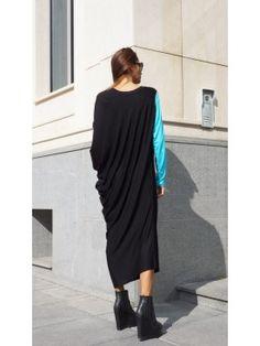 Asymmetric Black Off-Shoulder Dress A03052#Aakasha #shortsleeves #draped #black #stylish #party #maxidress #gorgeous #colorsleeve