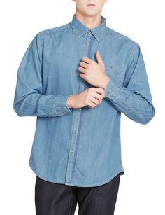 LE3NO PREMIUM Mens Vintage Long Sleeve Button Down Work Denim Shirt