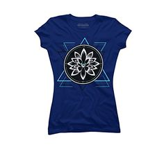 9c8223a3b Geometrical Lotus Symbol Juniors XLarge Royal Blue Graphic T Shirt **  Details can be found by clicking on the image.