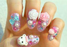 Kawaii nails, 3D nails, fake nails, pastel nail art, fairy kei nails, harajuku nails, glitter, oval nails, acrylic nails, press on nails on Etsy, $22.00