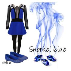 """""""Snorkel blue"""" by mnbirdy ❤ liked on Polyvore featuring Hue, Posh Girl, Bakers, women's clothing, women's fashion, women, female, woman, misses and juniors"""