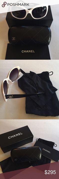 f79c232b3c67 Shop Women s CHANEL White Black size OS Glasses at a discounted price at  Poshmark. Model Embroidered Chanel Logo on the side. Made in lTALY.