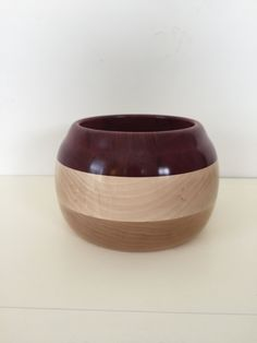 Maple and Exotic Purpleheart Wood Yarn/Decorative Bowl